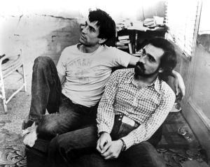 Robert De Niro e o cineasta nos bastidodes de Taxi Driver...